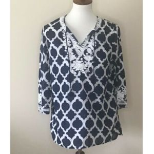 Talbots Beaded Geometric Top